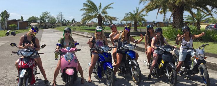 Lady scooter gang heading up to the waterfalls & hot springs for a day off! At CamSur Watersports Complex