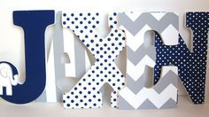 Navy Blue Elephant and Grey Chevron Letters  by MurrayDesignShop, $75.00