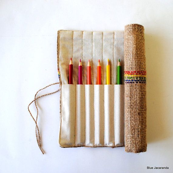 Upcycled coffee bag, Burlap Pencil Roll - Blue Jacaranda - I think there is a coffee distributor in downtown McKinney. Maybe we can get bags there.