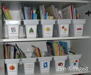 how to organize and store your teacher books plus free printable book box labels via www.pre-kpages.com