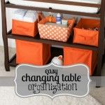 I really like the open baskets for keeping organized supplies for the changing table.