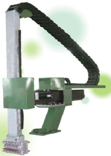 Lubricador automatico VERTICAL – HORIZONTAL  Movimiento vertical es accionado por el servomotor y el movimiento horizontal es accionado por el motor de la frecuencia con el codificador, velocidad rápida y estable. Puede rociar y soplar en la posición arbitraria basada en la técnica del bastidor. Selección de brazo disponible para la posición de descenso en espera, reduce el tiempo de extracción y mejora la productividad.