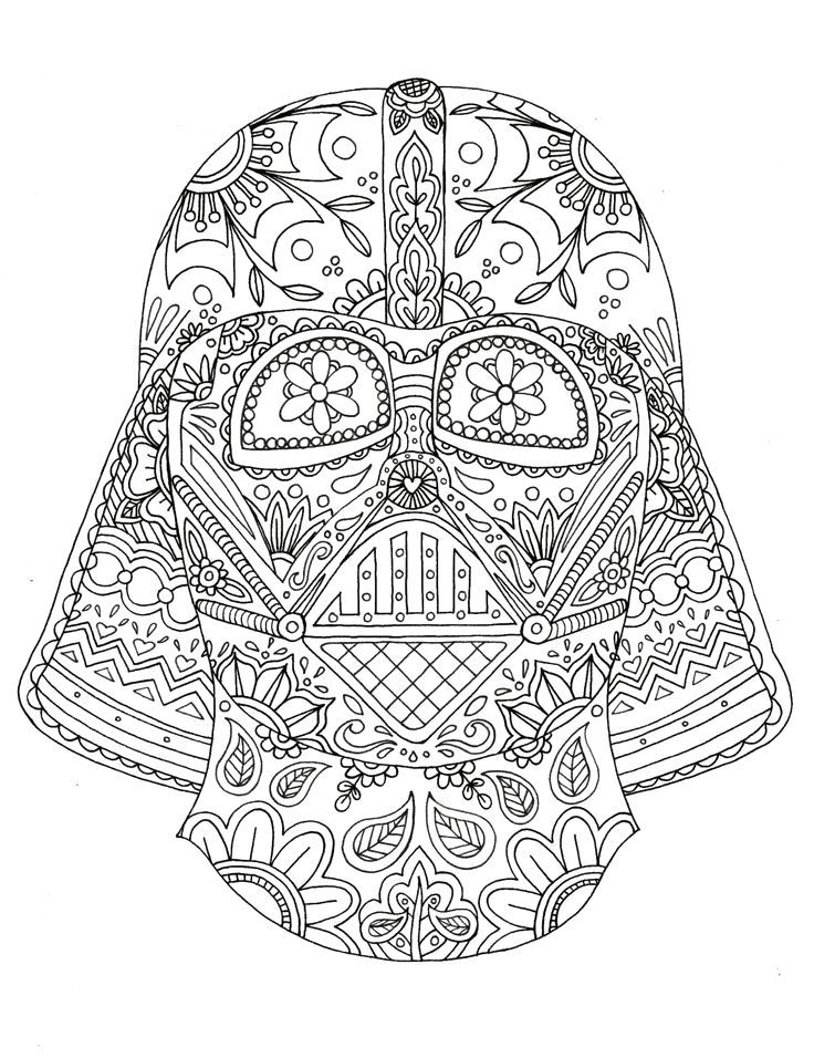 Zack Storm Coloring Pages: Darth Vader Coloring Page Star Wars Mexican Skull