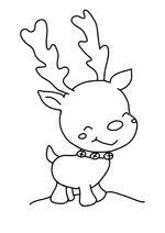 Coloriage de noel avec le mignon petit renne