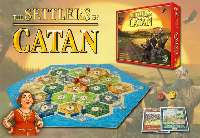 Settlers of Catan. This is a very popular board game. It isn't one of my personal favorites, but it is fun. Gather resources and try to build your settlement with the most victory points.