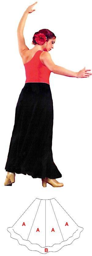 Flamenco Dance Skirt - Skirt 6 seams (quillas), 1 ruffle