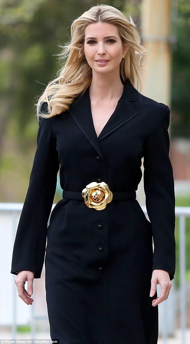 5e2823103c948 Dazzle like Ivanka Trump with an Oscar de la Renta floral belt #DailyMail