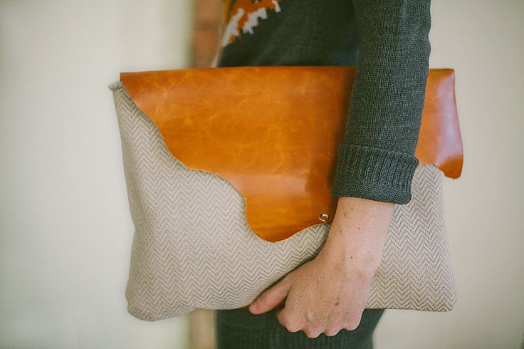 Protect your tech with this DIY leather + chevron laptop case
