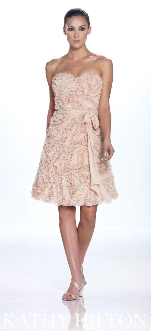 Kathy Hilton - Strapless sweetheart raw edge silk cocktail dress