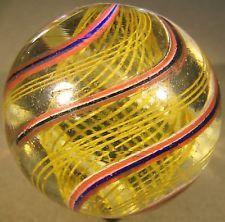 "Huge Early German Yellow Latticinio Core Swirl Marble, Mint- 1-13/16"""