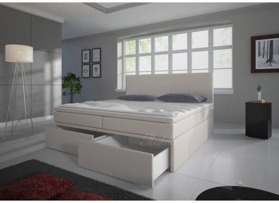 Boxspring Sona is zeer compleet, heeft een moderne uitstraling en staat garant voor een comfortabele nachtrust. Dit model beschikt over een hoofdbord, box met stevige poten, bonellveringmatras en topdekmatras. De gehele boxspring is bekleed met een sterke stof in een gebroken witte kleur. De Sona beschikt over twee opberglades welke in het voetenbord van de boxspring verdwijnen. Deze is verkrijgbaar in 140x200 / 160x200 / 180x200 cm.