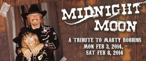 MIDNIGHT MOON - A TRIBUTE TO MARTY ROBBINS > February 3 - February 8, 2014 	      Three Shows daily:  1:00pm, 3:30pm, 6:00pm 	      Tickets: $37	 > 6100 E Mining Camp Street 	      Apache Junction, AZ 85119 Reservations:  480 982 3181 *Buy 5 tickets and get the 6th ticket FREE* Ticket price includes Show Ticket, our famous 3 course dinner of Roast Chicken & Dressing, Honey-baked Ham & BBQ Ribs, Tax and Tip!