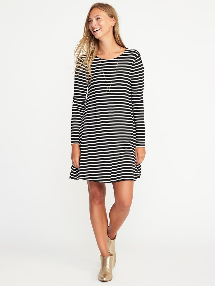 Jersey-Knit Swing Dress for Women $29.99 from Old Navy size medium striped black and white