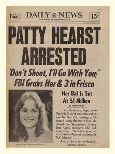 #DailyNews - Patty Hearst Arrested