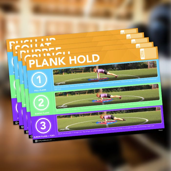 The printable Fitness Station Poster set includes each of the five following fitness activities: Pushup, Burpee, Crunch, Plank and Squat. These visual tools will help your students find the right amount of challenge while exploring fitness-based concepts in physical education class.