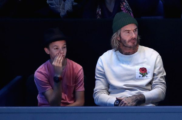 """"" David Beckham and his son Romeo Beckham watch the singles final between Grigor Dimitrov of Bulgaria David Goffin of Belgium at ATP World Tour Finals 2017 "" """
