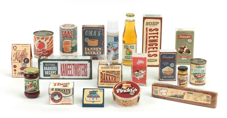 Hollandsche waar, allemaal lekkere producten in verpakkingen uit grootmoeders tijd.