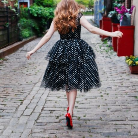 Late 1950s black tulle dress and Herbert Levine red polka-dot pumps.