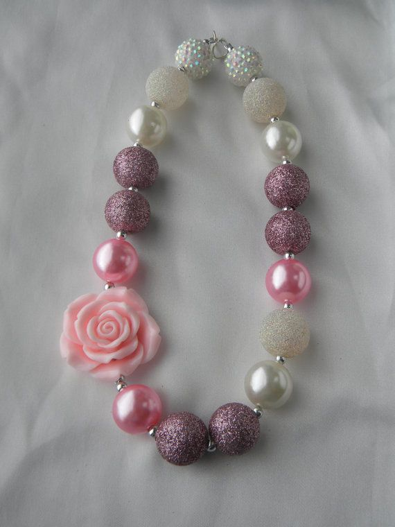 Pearly Rose-Childrens chunky bead necklace