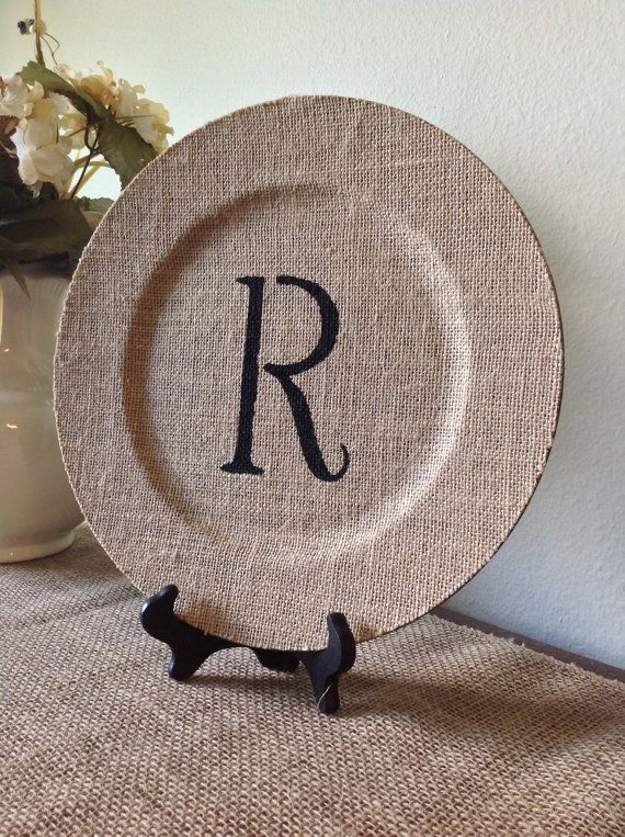 Personalized Burlap Charger with Plate Stand by TheCharmingBarn, $22.00