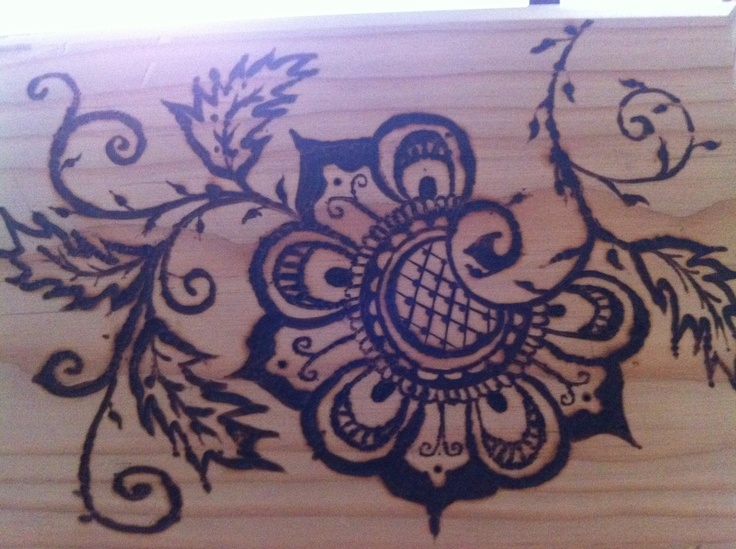 wood burned henna design