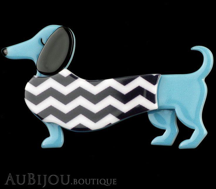 Erstwilder Brooch Pin Samuel the Silly Sausage Dachshund Dog Blue
