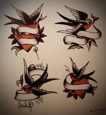 Image result for traditional american tattoo swallow