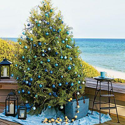 Beach Christmas: Decor, At The Beaches, Beaches House, Blue Christmas, Beaches Christmas, Christmas Trees, Outdoor Christmas, Coastal Christmas, Feelings Blue