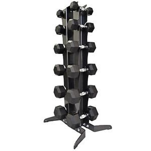 Northern Lights Rubber Hex Dumbbell Set w/Rack - 6 Pair (210Lbs)