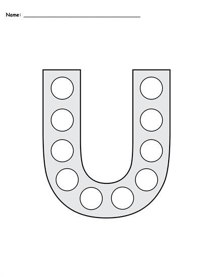 FREE Letter U Do-A-Dot Printables - Includes Uppercase and Lowercase Letters in 2 Versions! Letter U worksheets like these are perfect for toddlers, preschool, pre-k, and kindergarten. They're great for letter recognition, fine motor skills, and more! Get the free letter U coloring pages here --> https://www.mpmschoolsupplies.com/ideas/7799/free-letter-u-do-a-dot-printables-uppercase-lowercase/