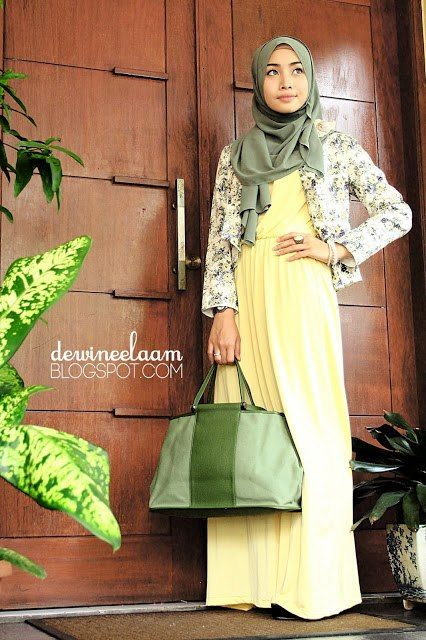 Yellow, green and white hijab