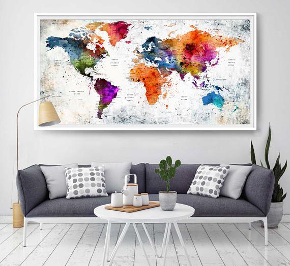 world map wall art world map poster world map decor world - World Map Decor
