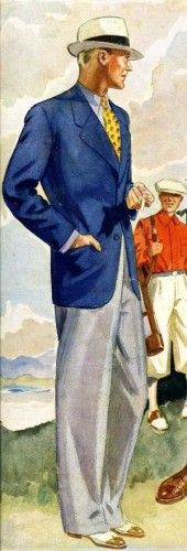 1930s summer men's fashion navy sportcoat white pants. Illustartion by  Laurence Fellows