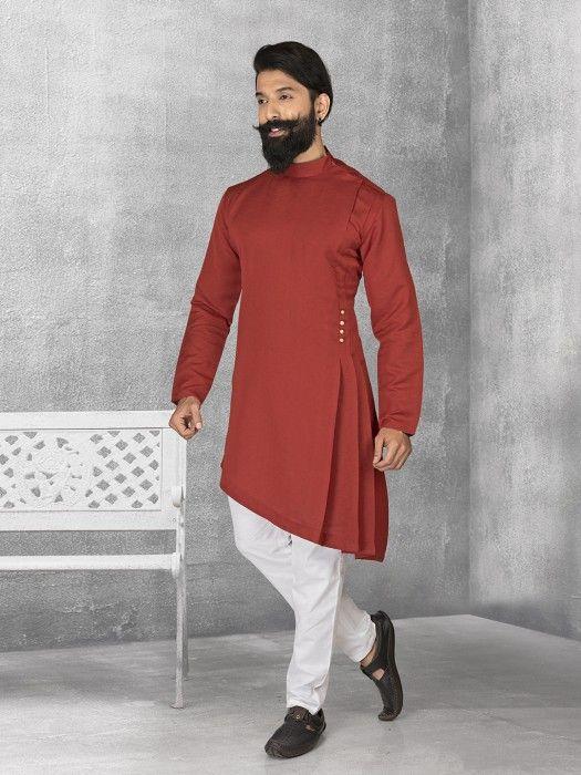 Maroon Terry Rayon Plain Kurta Suit, mens kurta suits, mens kurta designs, mens kurta pyjama, mens linen kurta, mens kurta designs, mens indian fashion,