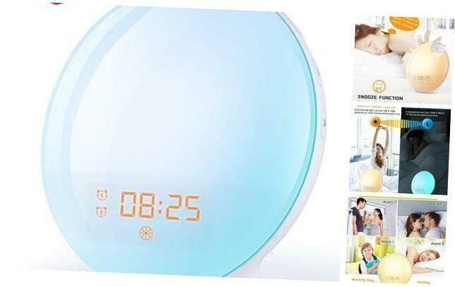 Wake Up Light Sunrise Alarm Clock 7 Colors Bedside Night Light With Sunrise Sun In 2020 Sunrise Alarm Clock Alarm Clock Light Alarm Clock