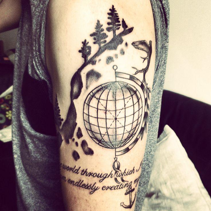 #arm #travel #tattoo #mountain #globe | Travel Tattoos ...