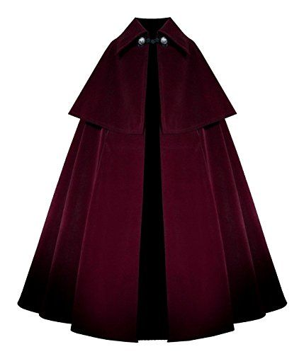 New Trending Outerwear: Victorian Historical Steampunk Gothic Renaissance Velvet Cape Cloak (Burgundy). Victorian Historical Steampunk Gothic Renaissance Velvet Cape Cloak (Burgundy)   Special Offer: $159.00      211 Reviews 53″ Long from Top of Shoulder to Bottom HemMade Entirely of Outerwear Weighted Velvet, with Reproduction Antiqued Silver ButtonsUnlined, Not to be Used For Keeping...