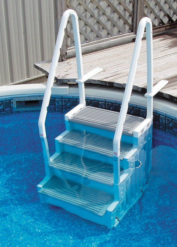 Exterior: Pretty Ocean Blue Above Ground Pool Ladders from The Right Above Ground Pool Ladders For You