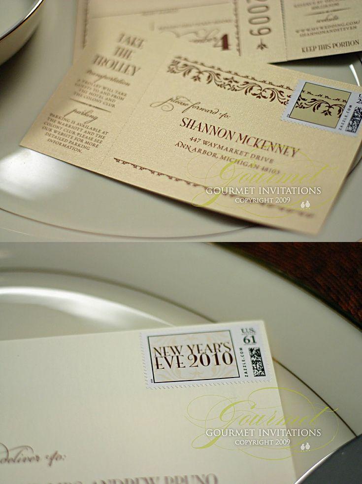 movie ticket stub wedding invitation%0A Shannon   Steven  New Year u    s Gala Wedding Invitations