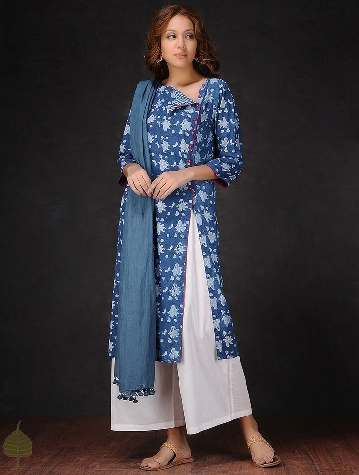 Buy Indigo White Natural dyed Dabu printed Cotton Kurta by Jaypore Women Kurtas Online at Jaypore.com