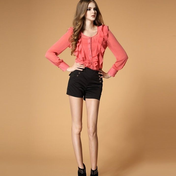 Sweet Slim Pure Color Slim Long Sleeve Blouses Beige Pink Green