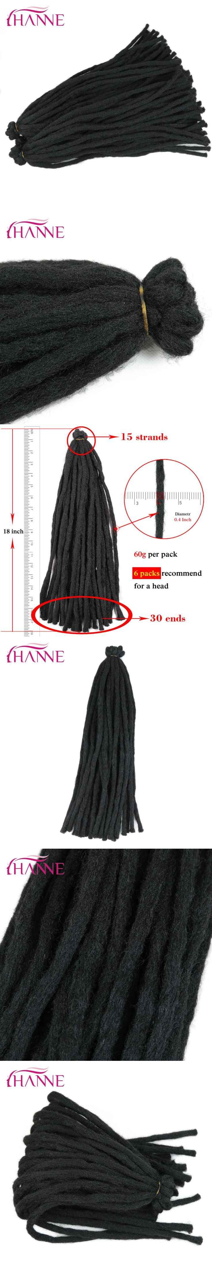 HANNE 18inch 65g Crochet Braids Black Dreadlocks High Temperature Synthetic Hair Extensions For Men/Black Women 15strands/pack