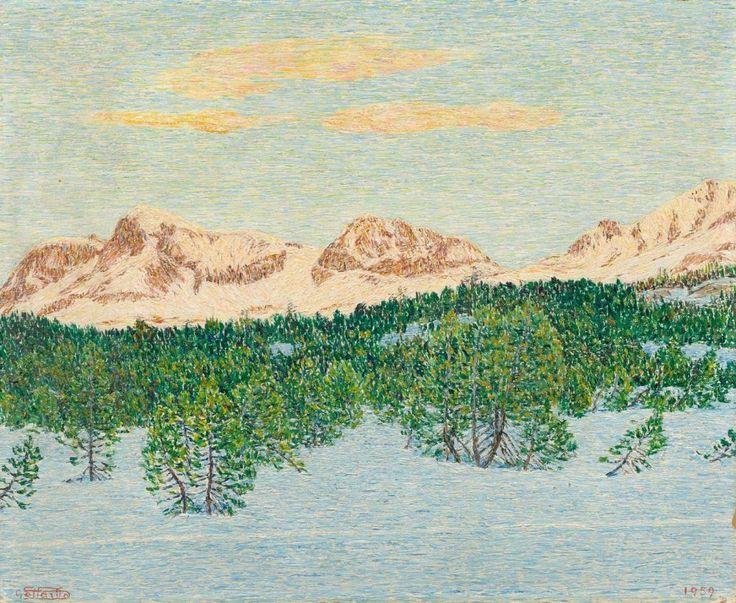 Gottardo Segantini (1882-1974), Engadine landscape in the winter with Corvatsch, Arles and Rosatsch seen from Maloja, 1959. Oil on fibreboard, 37.3 x 45 cm.
