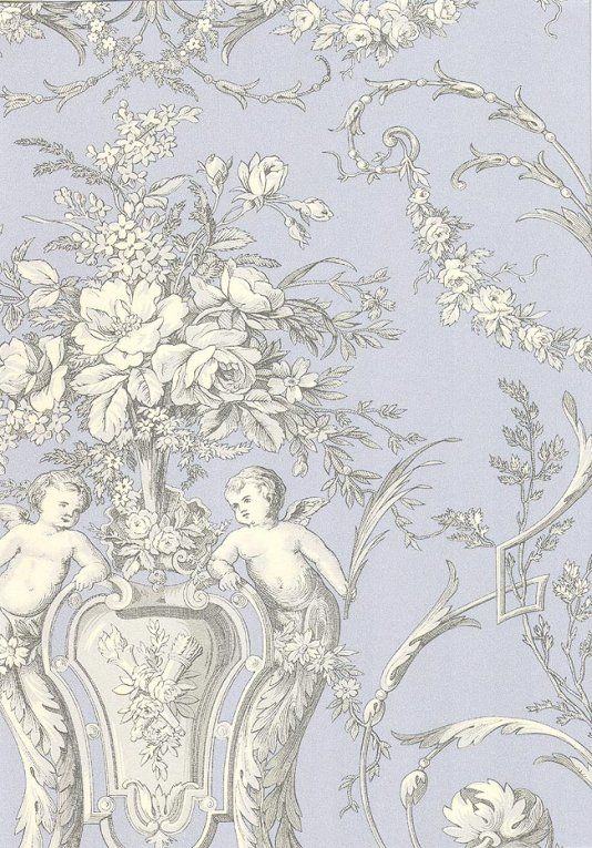 Cherub Toile Wallpaper A Traditional Wallpaper With