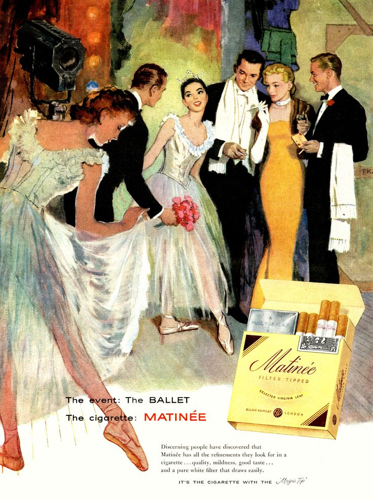 Event: the ballet; Cigarette: Matinee #graphicdesign #vintage #ads