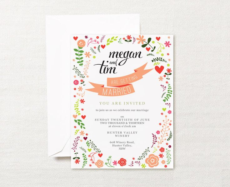 Whimsical pink floral calligraphy printable wedding invitation set - floral wedding invite, rsvp / reply card set. $39.95, via Etsy.