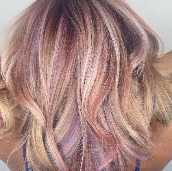 Image result for pink and lavender highlighted shoulder length bob