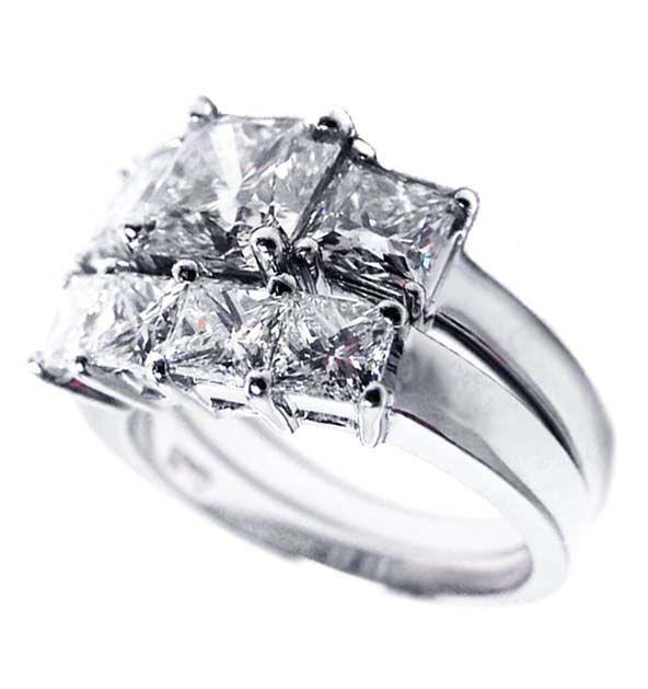 Engagement Ring Three Stone Princess Cut Diamond