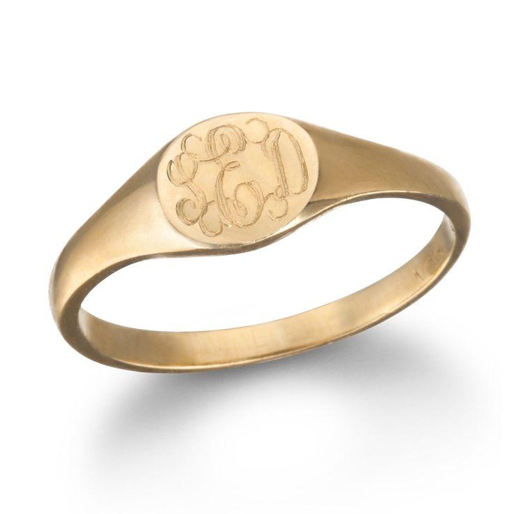 Charm & Chain mini signet monogram ring, rose gold