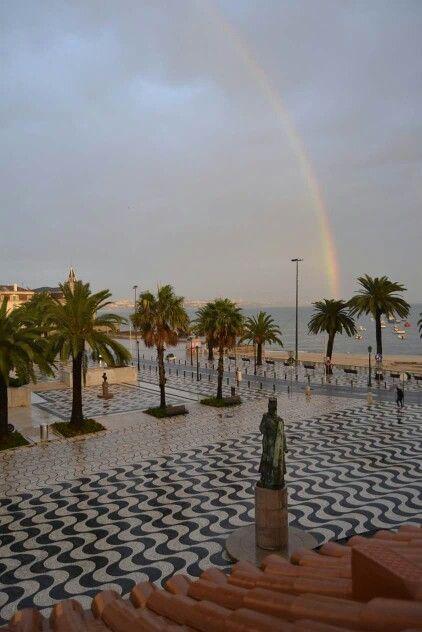 Cascais - follow the rainbow... beautiful the cobblestone sidewalks. Portugal